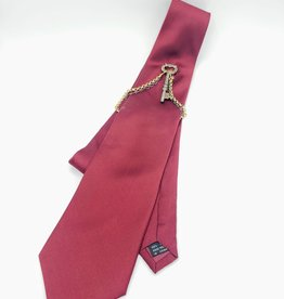 Maroon Microfiber Tie with Key Ornament and chains