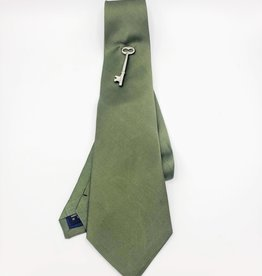 Green Microfiber Tie with Key Ornament