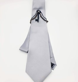 Silver Microfiber Tie with Key Ornament and chains