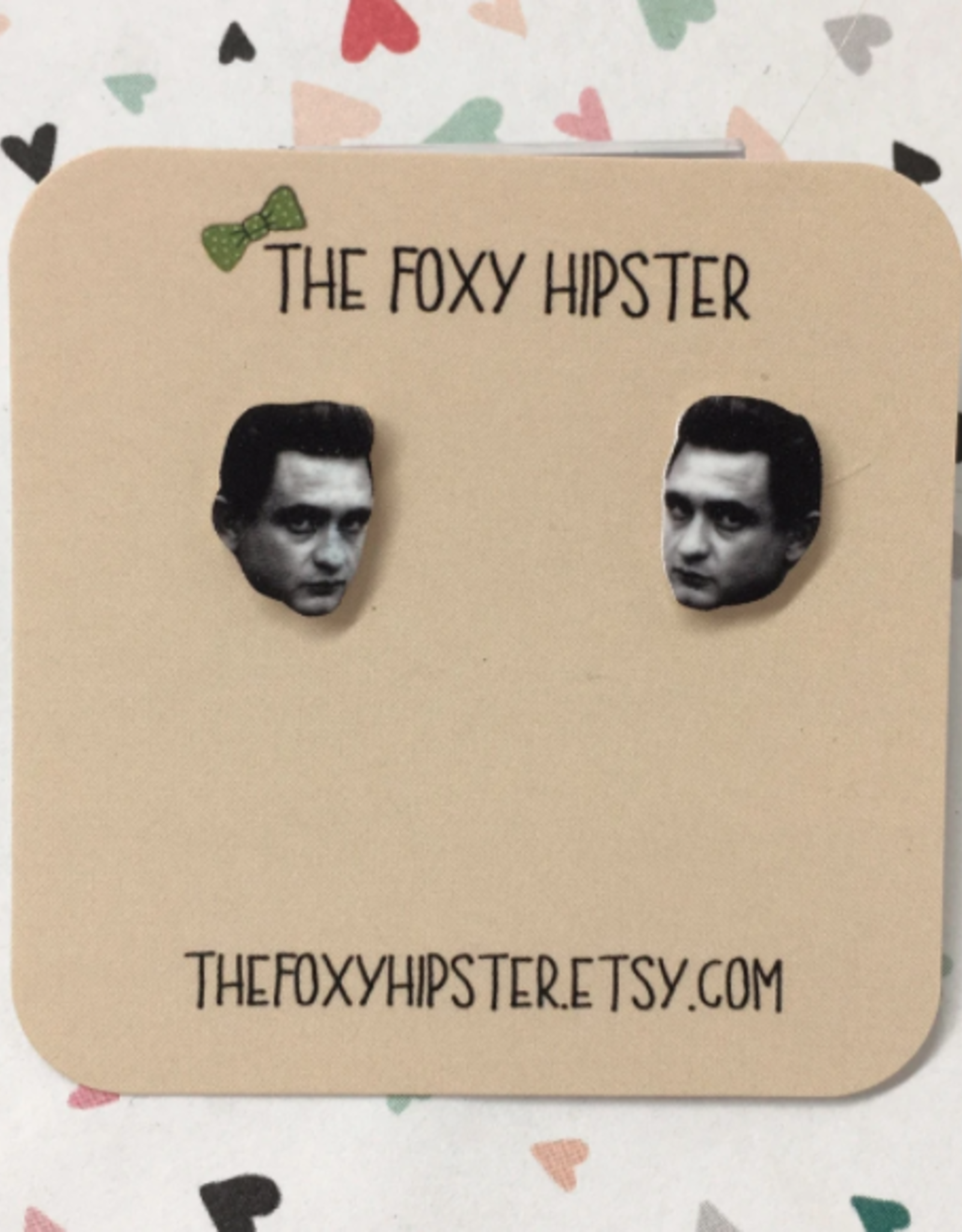 The Foxy Hipster Johnny Cash Shrinky Dink Post Earrings - The Foxy Hipster