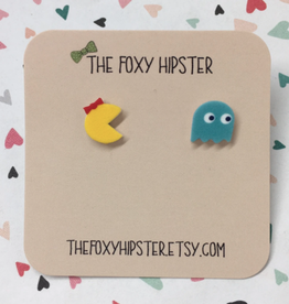 The Foxy Hipster Ms. Pac Man Shrinky Dink Post Earrings - The Foxy Hipster