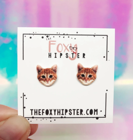 The Foxy Hipster Orange Tabby Cat Shrinky Dink Post Earrings - The Foxy Hipster
