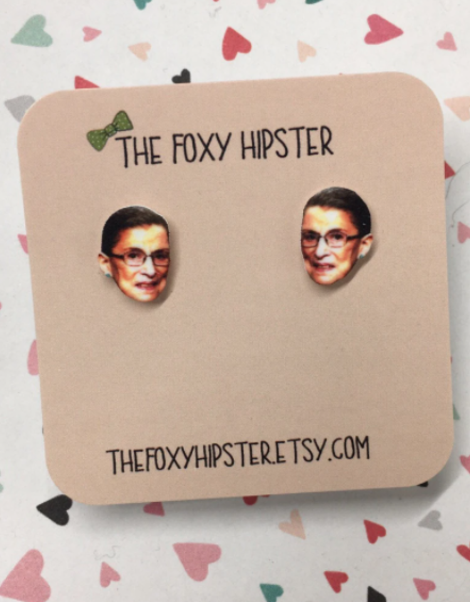The Foxy Hipster Ruth Bader Ginsburg Shrinky Dink Post Earrings - The Foxy Hipster