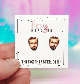 The Foxy Hipster Ryan Gosling Shrinky Dink Post Earrings - The Foxy Hipster