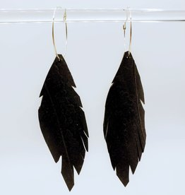 Bike Tire Feather Earrings on Silver Hoops