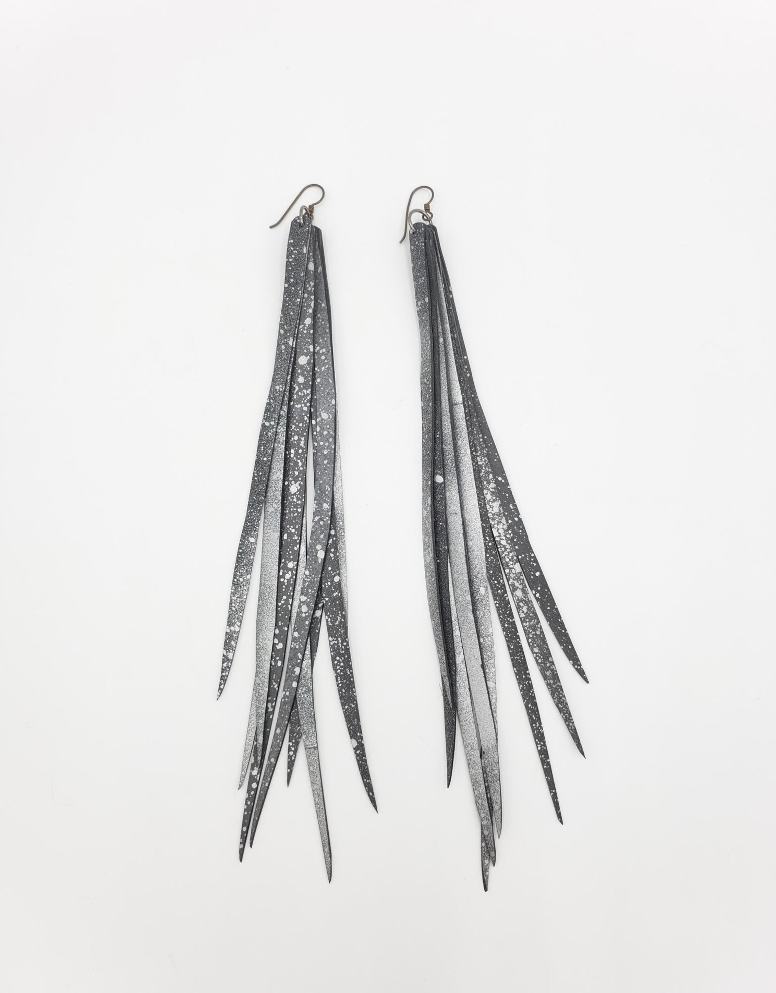 """Beatrice Holiday """"Feather"""" Inner Tube Earrings - Silver Starlet 6-9""""  Bike Tire"""