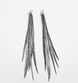 "Beatrice Holiday Feather Inner Tube Earrings - Silver Starlet 6-9""  Bike Tire"