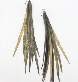 "Beatrice Holiday Feather Inner Tube Earrings - Disco Diva 6-9""  Bike Tire"