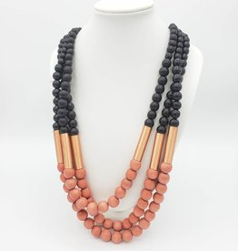 Sylca Designs Black and Coral Necklace with Wooden Beads and Copper Accents Triple Strand