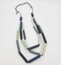 Sylca Designs Long Cylinder Necklace - Blue Beads, Gray & Black