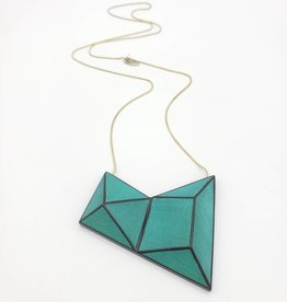 Sylca Designs Cadence, Green Geometric Painted Wood Necklace on Snake Chain