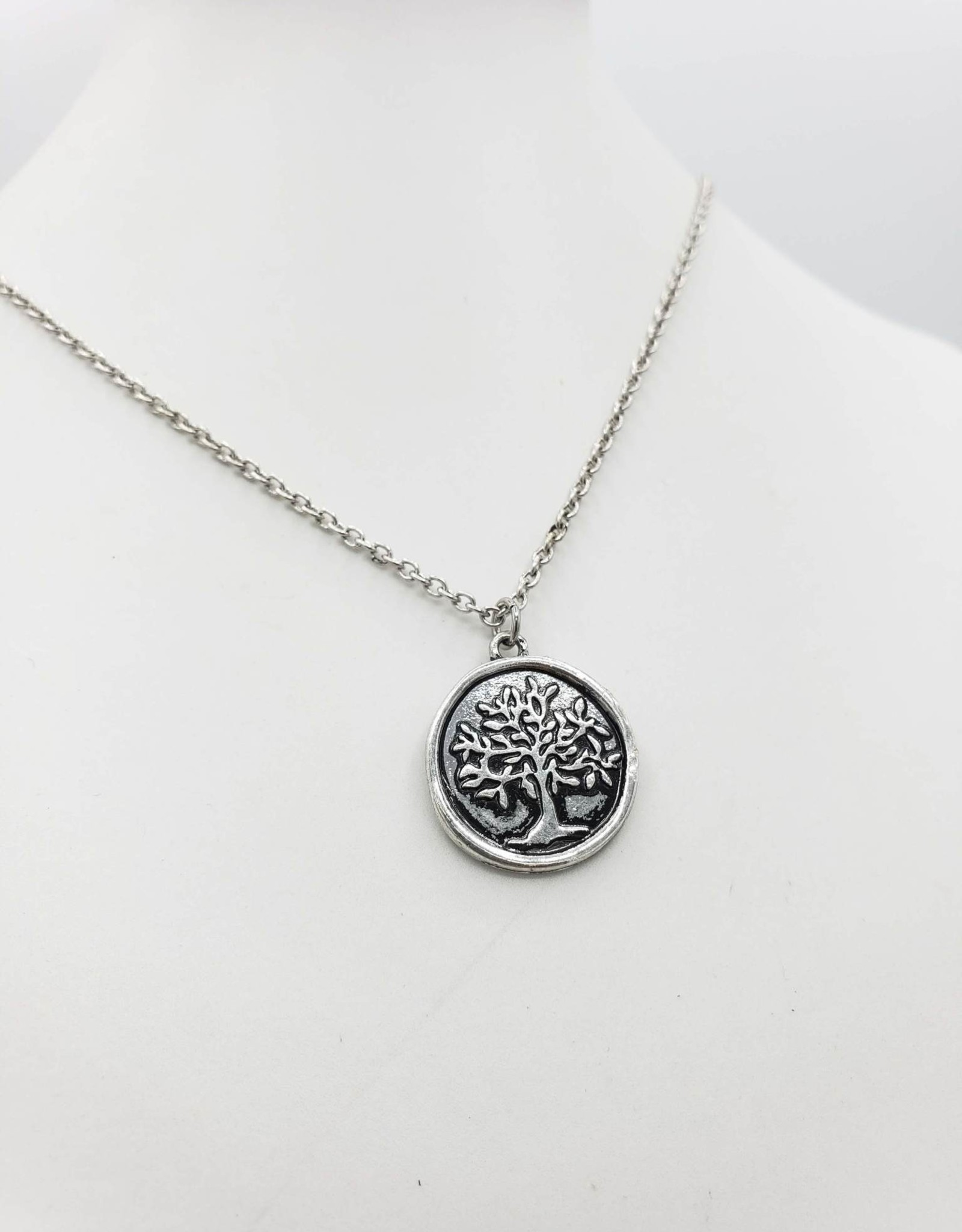 Love Letters Wax Seal Tree Pendant - Silver Tone