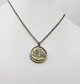 Love Letters Wax Seal Tree Pendant - Gold Tone