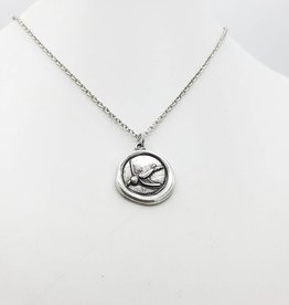 Love Letters Wax Seal Bird Pendant - Silver Tone