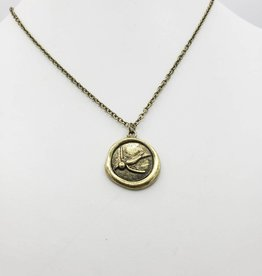 Love Letters Wax Seal Bird Pendant - Gold Tone