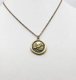 Love Letters Wax Seal Bird Pendant - Gold Tone