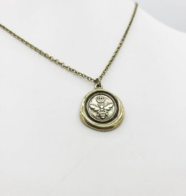 Love Letters Wax Seal Bee Pendant - Gold Tone