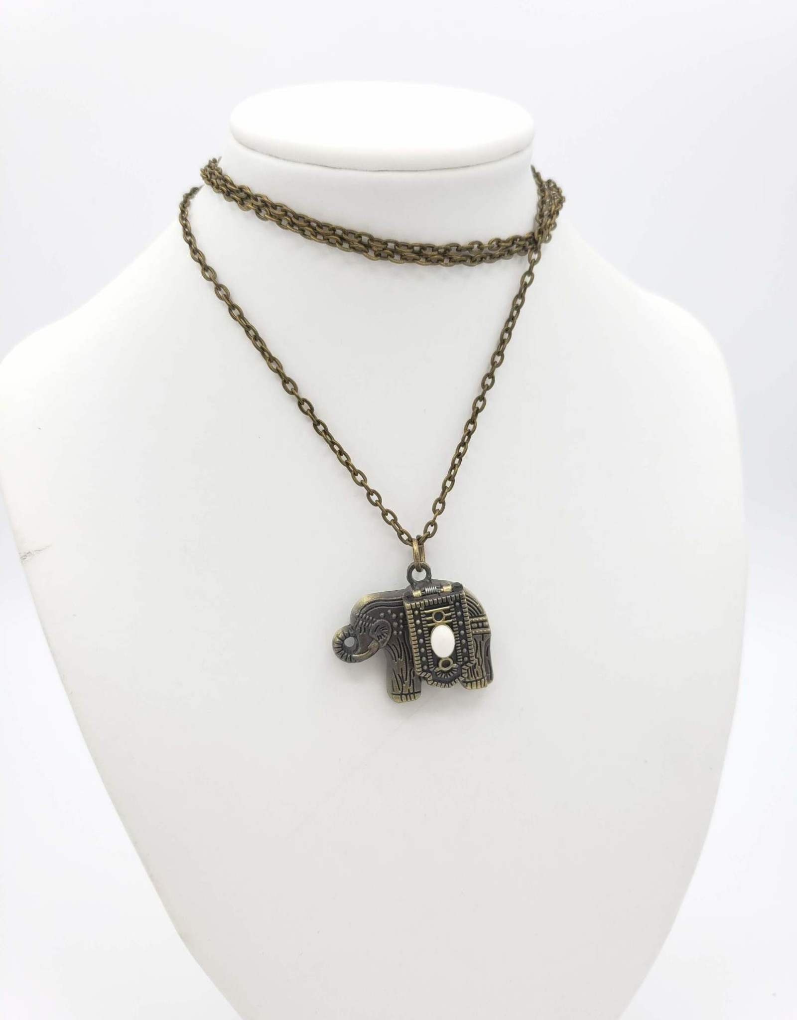 Gold Elephant Watch Necklace