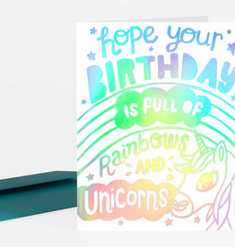 """Rainbows and Unicorns"" Birthday Greeting Card - Allison Cole"