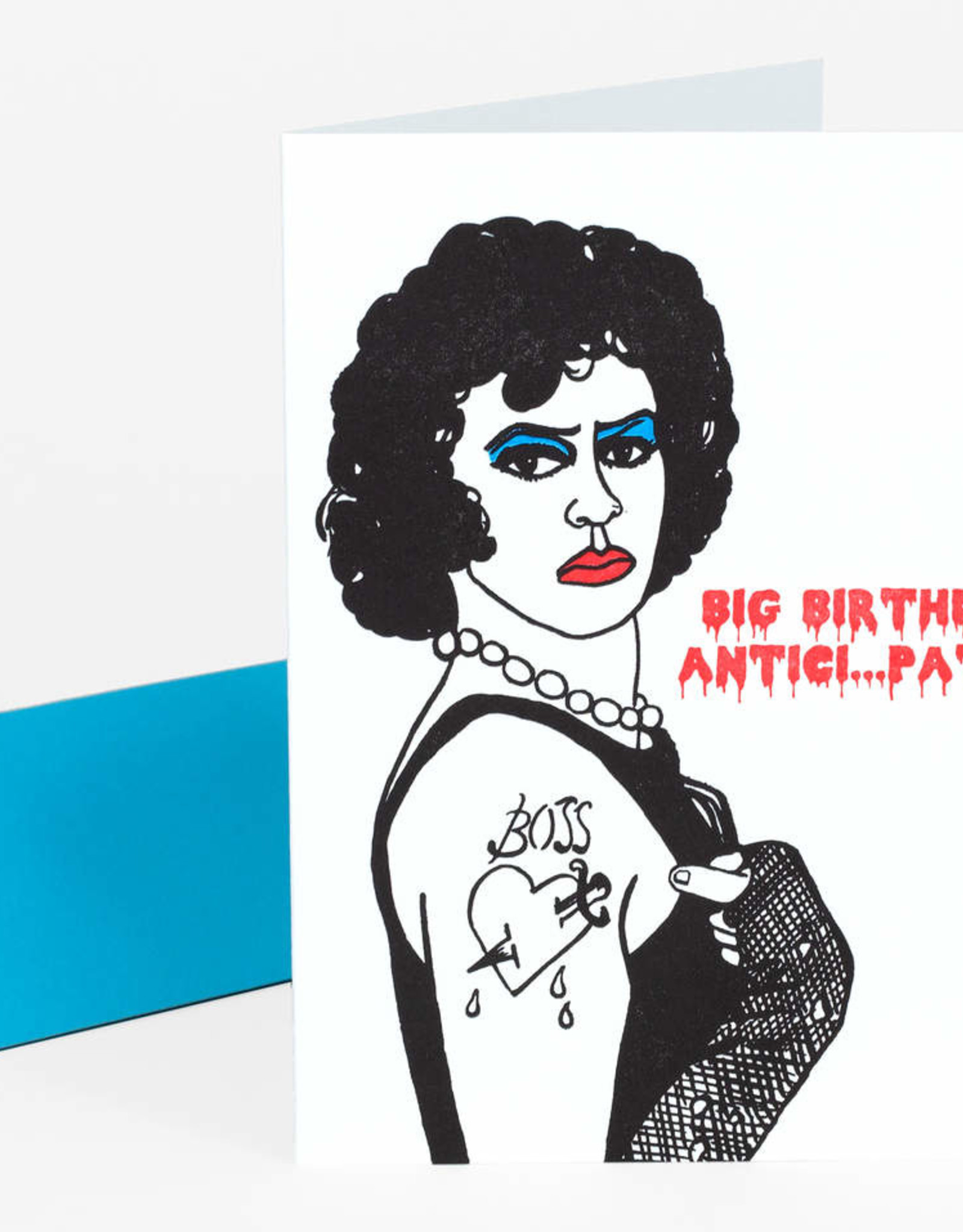 """Big Birthday Anticipation"" Rocky Horror Frankenfurter Greeting Card - Greenwich Letterpress"