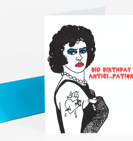 """Big Birthday Anticipation"" Rocky Horror Frankenfurter Greeting Card - Greenwich Letterpress"