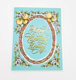 """Happy Birthday Darling"" Lemons & Gold Foil Greeting Card - Antiquaria"