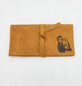 In Blue Handmade Rosie the Riveter - Leather Pocketbook Wallet