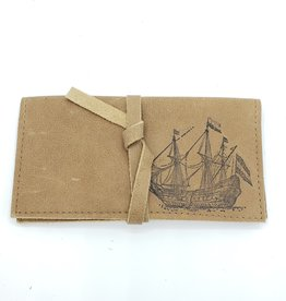 In Blue Handmade Pirate Ship - Leather Pocketbook Wallet