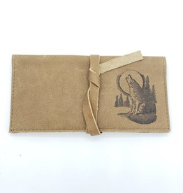 Wolf Howling at the Moon - Leather Pocketbook Wallet