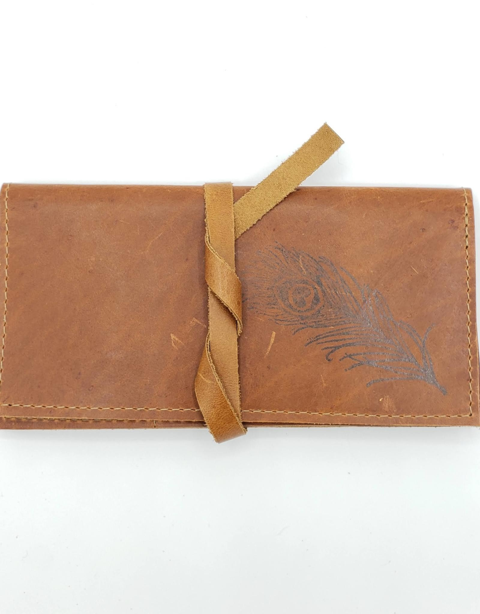 In Blue Handmade Peacock Feather - Leather Pocketbook Wallet