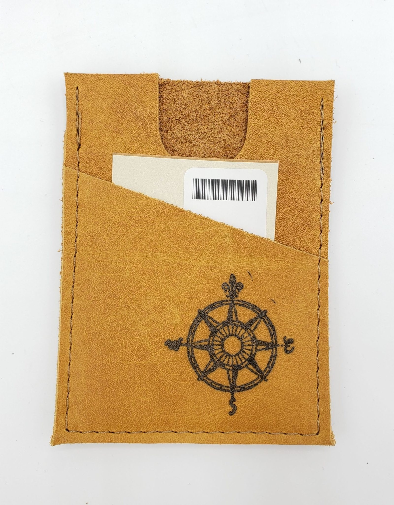 In Blue Handmade Compass - Train Ticket & Card Leather Wallet