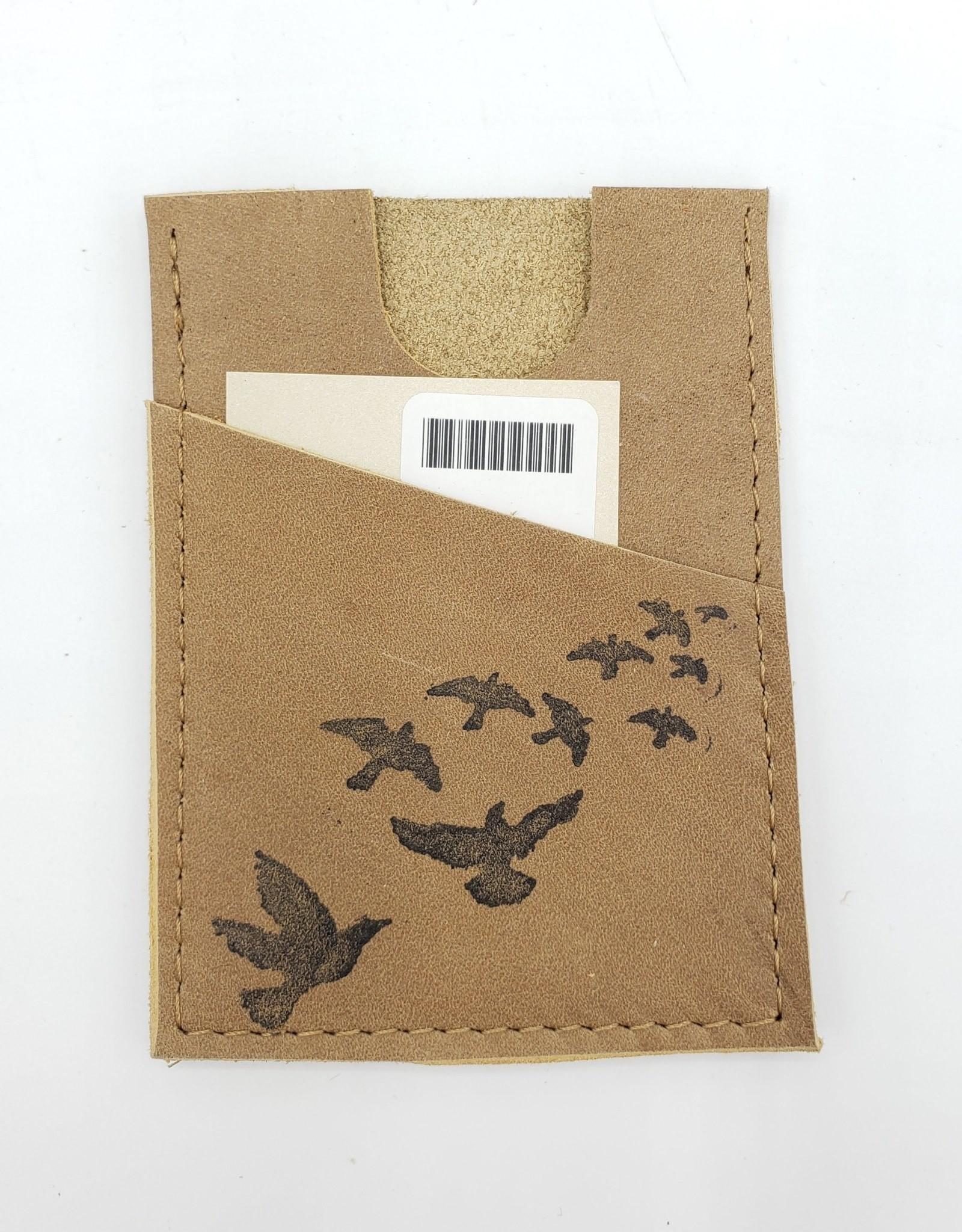 In Blue Handmade Flock of Birds - Train Ticket & Card Leather Wallet