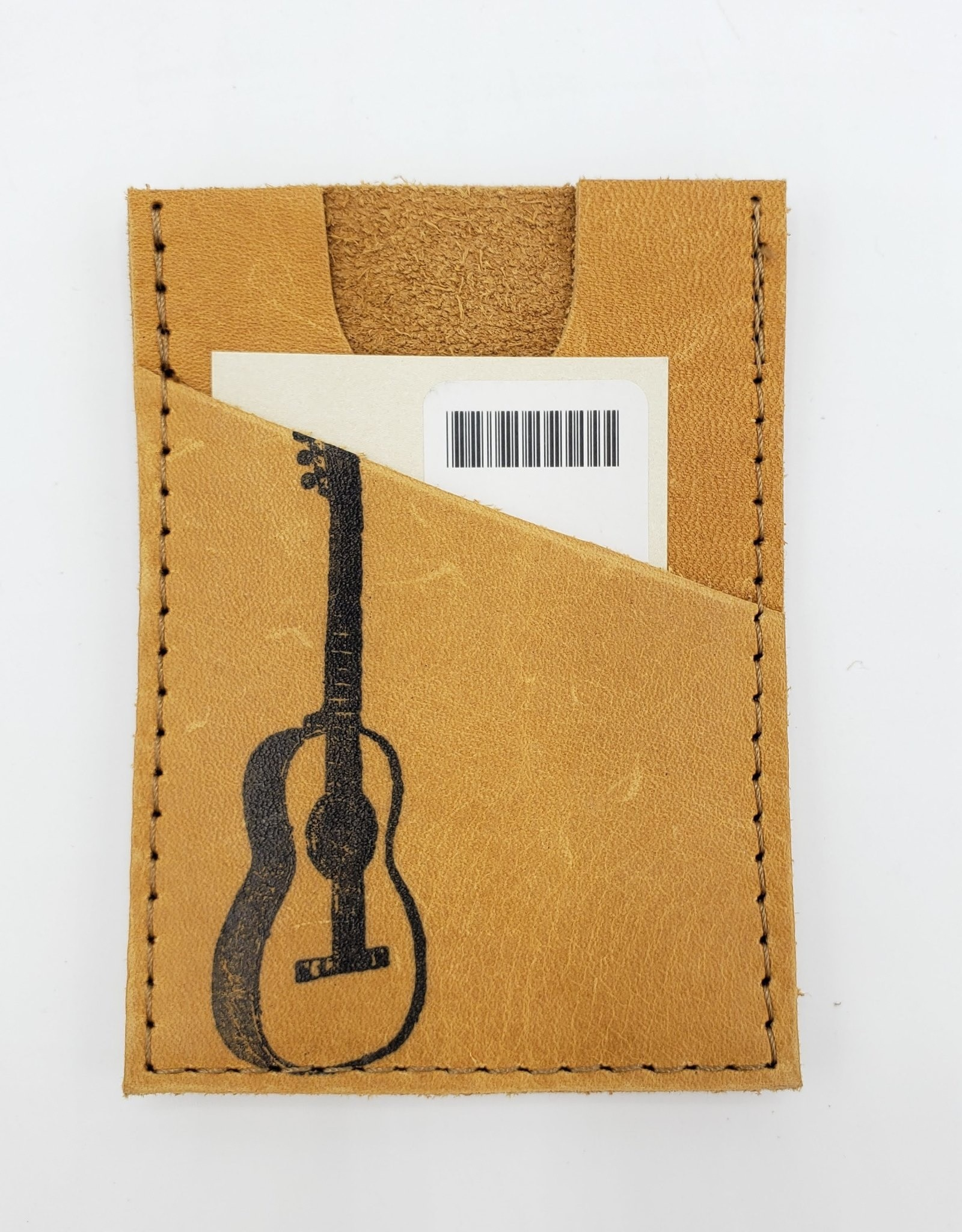 In Blue Handmade Guitar - Train Ticket & Card Leather Wallet