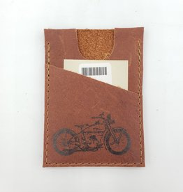 In Blue Handmade Motorcycle - Train Ticket & Card Leather Wallet