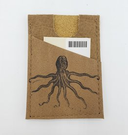 In Blue Handmade Octopus - Train Ticket & Card Leather Wallet