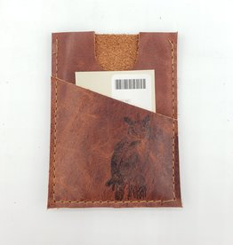 In Blue Handmade Owl - Train Ticket & Card Leather Wallet
