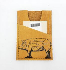 In Blue Handmade Pig - Train Ticket & Card Leather Wallet