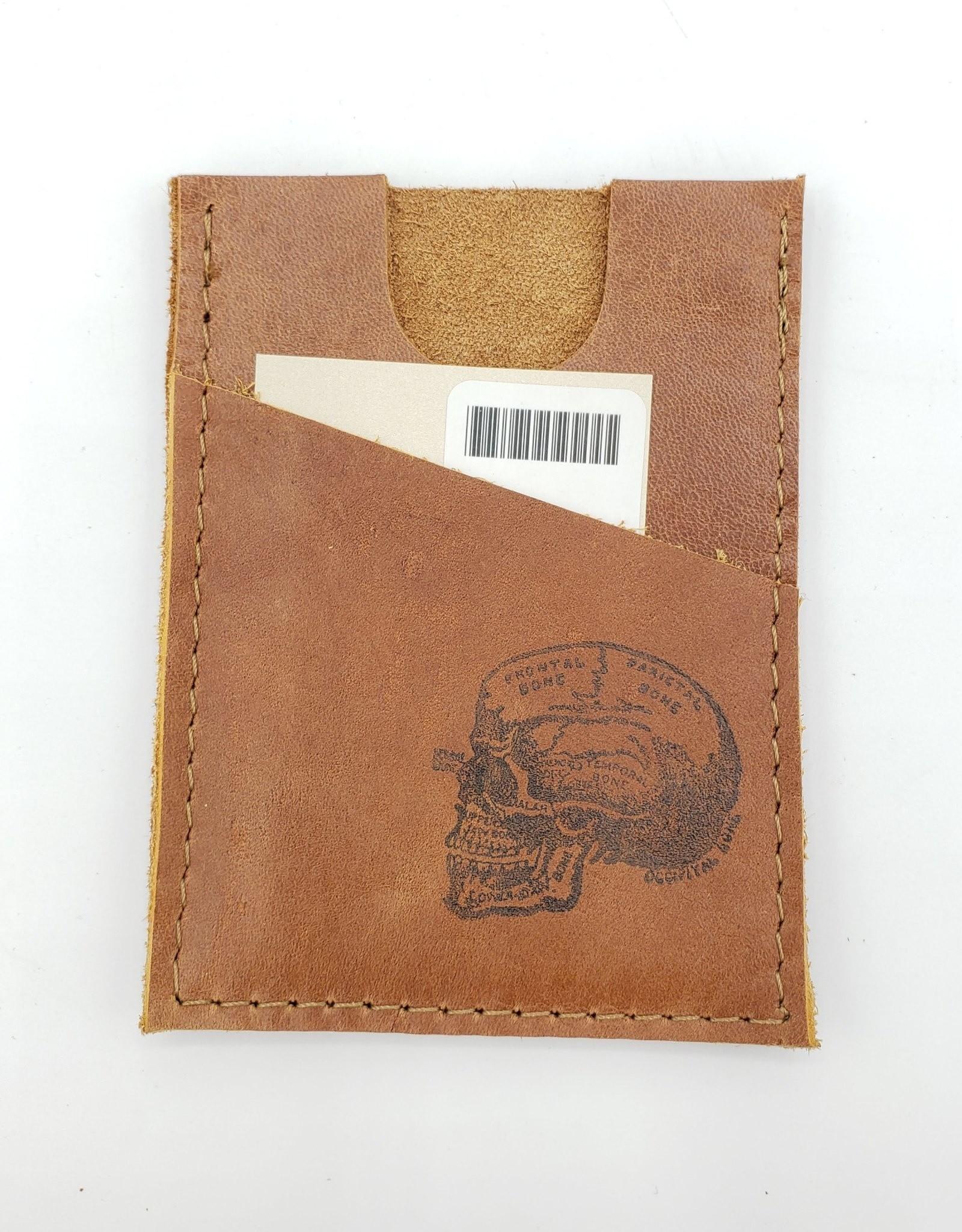 In Blue Handmade Skull - Train Ticket & Card Leather Wallet