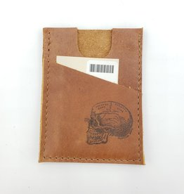 In Blue Handmade Skull - Train Ticket & Card Leather Wallet