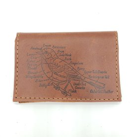Bird Diagram - Leather Fold Over Card Wallet