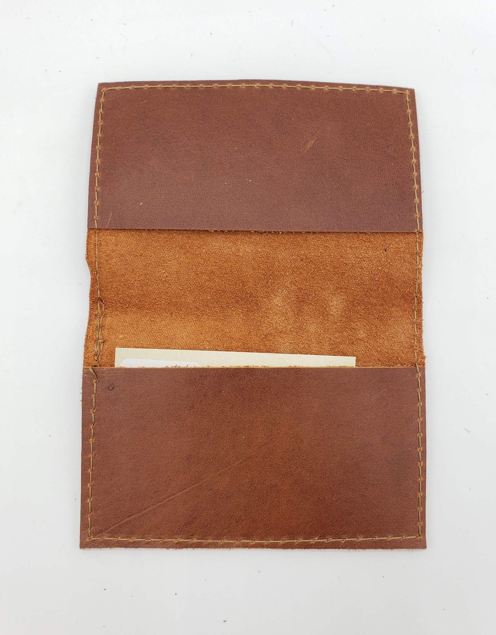 In Blue Handmade Bird Diagram - Leather Fold Over Card Wallet