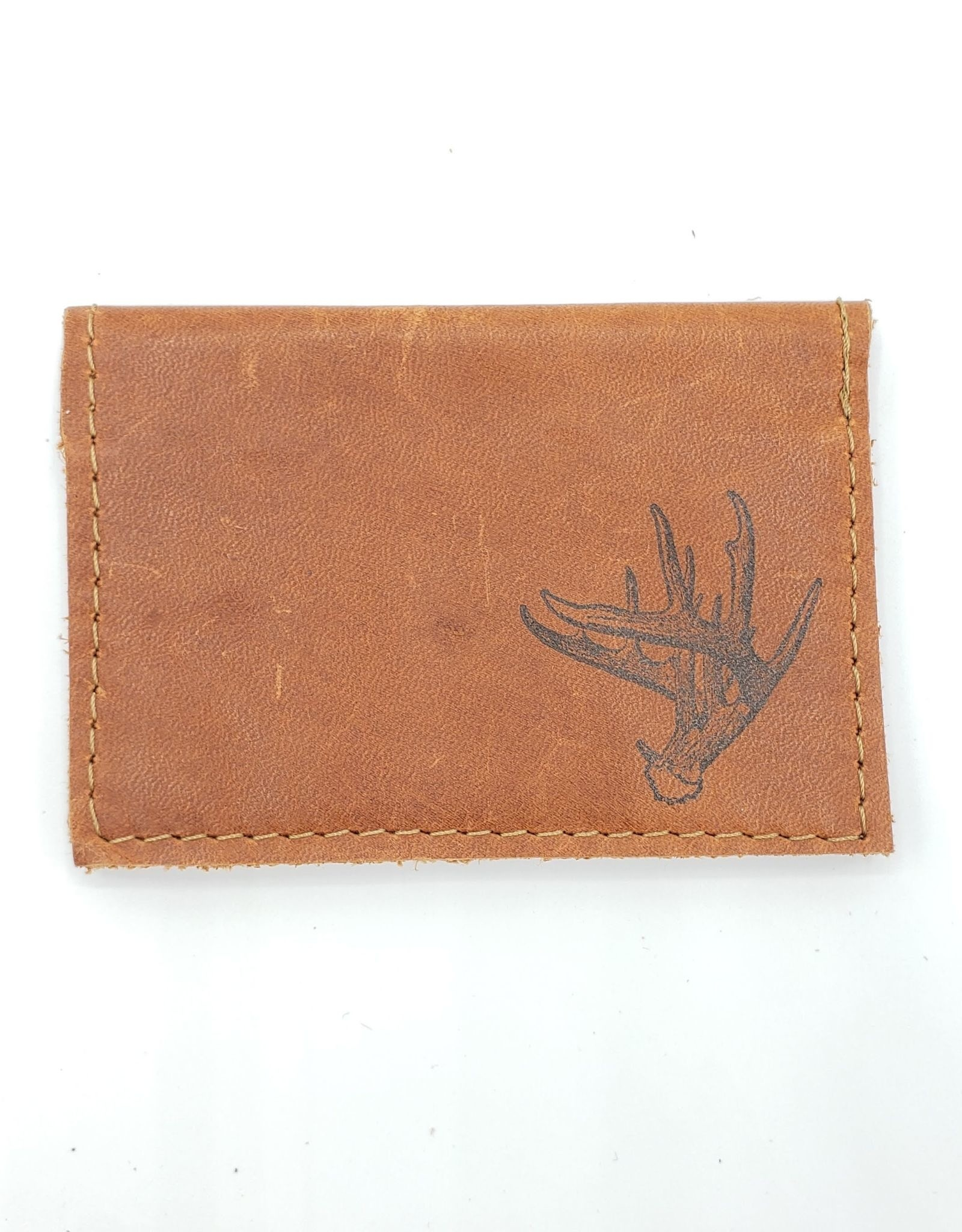 In Blue Handmade Antler - Leather Fold Over Card Wallet