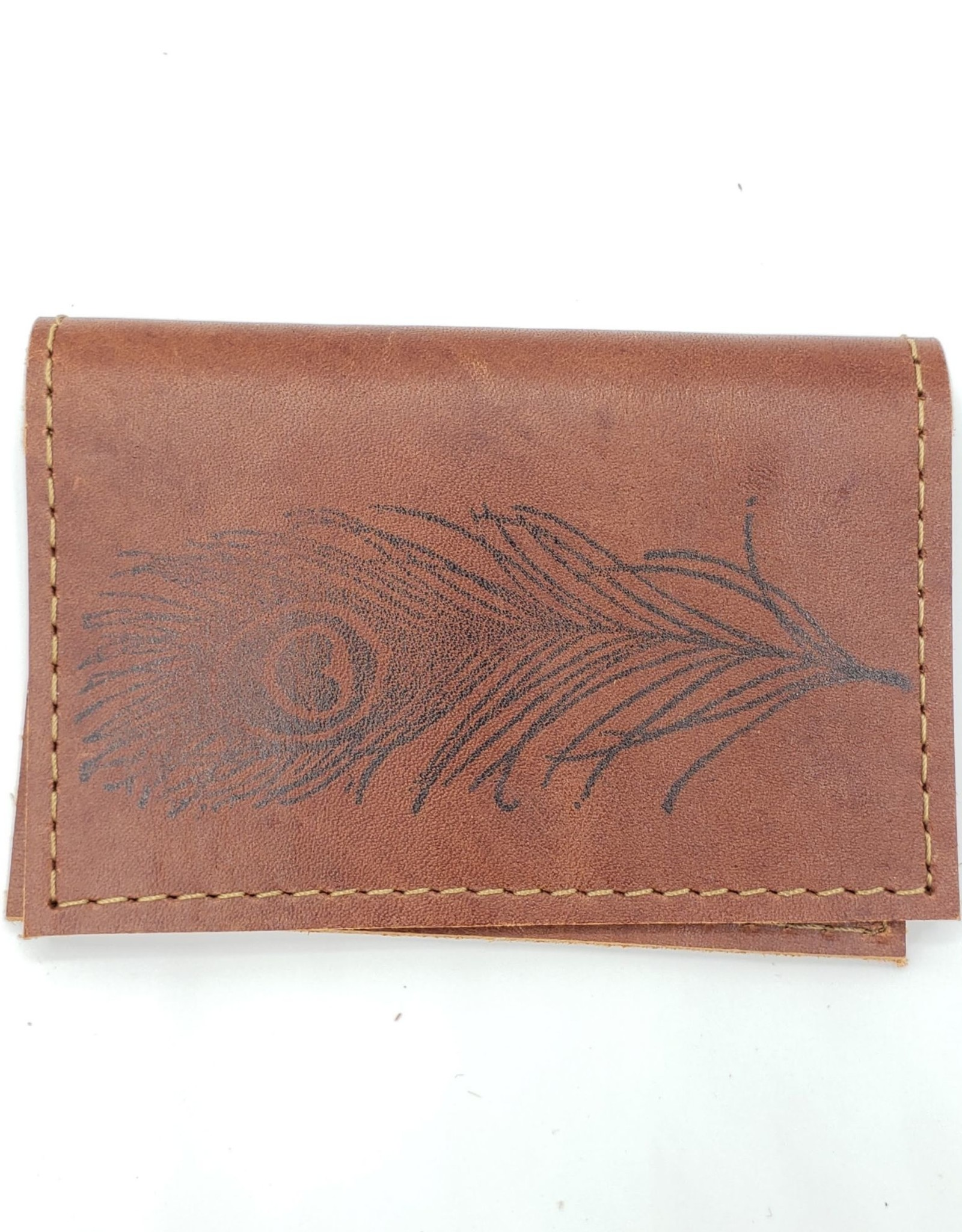 In Blue Handmade Peacock Feather - Leather Fold Over Card Wallet