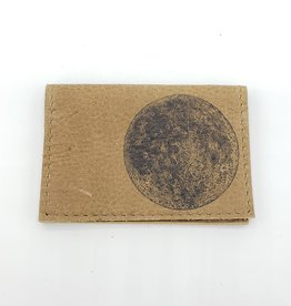 In Blue Handmade Moon - Leather Fold Over Card Wallet
