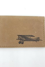 In Blue Handmade Airplane - Leather Fold Over Card Wallet
