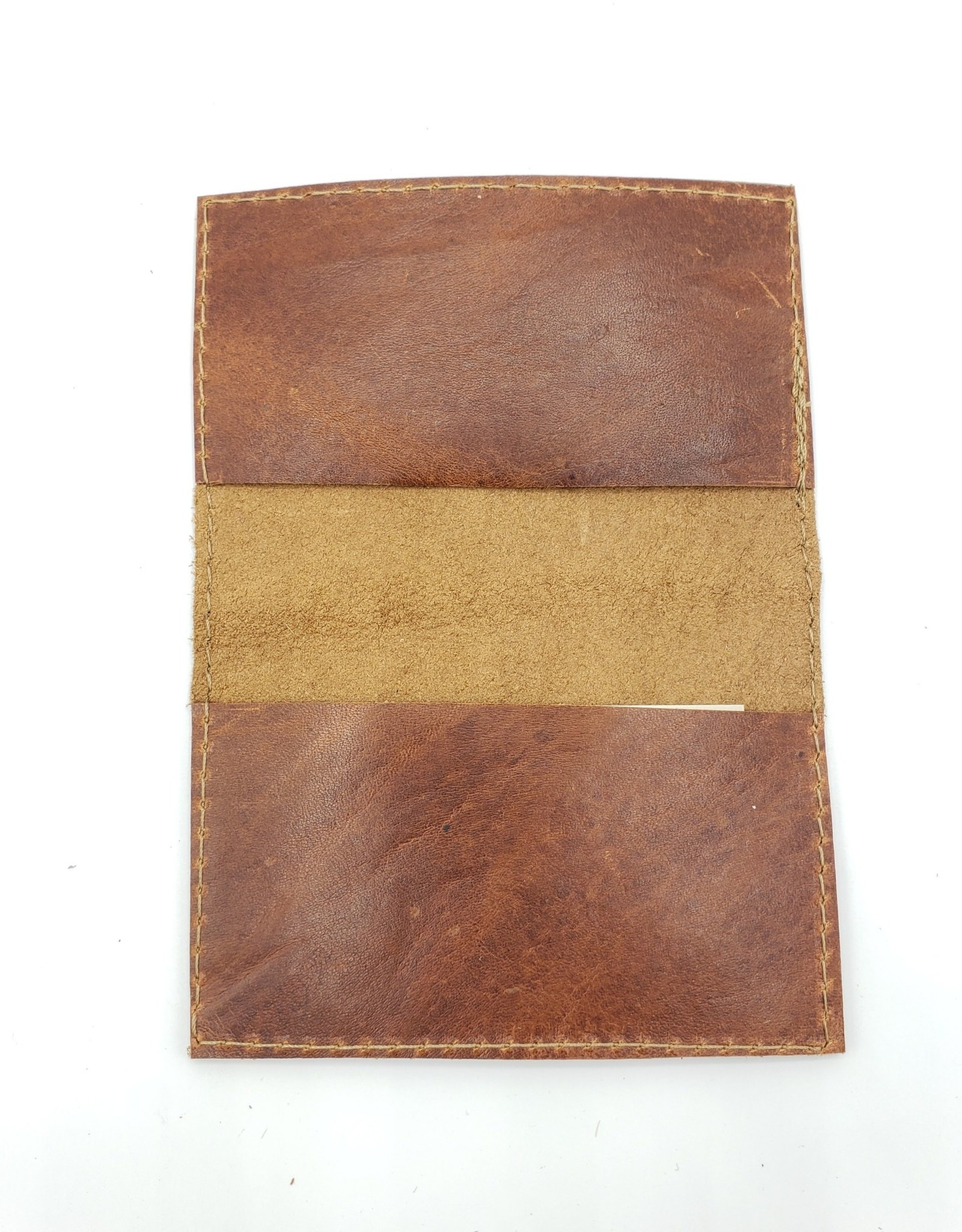 In Blue Handmade Compass - Leather Fold Over Card Wallet