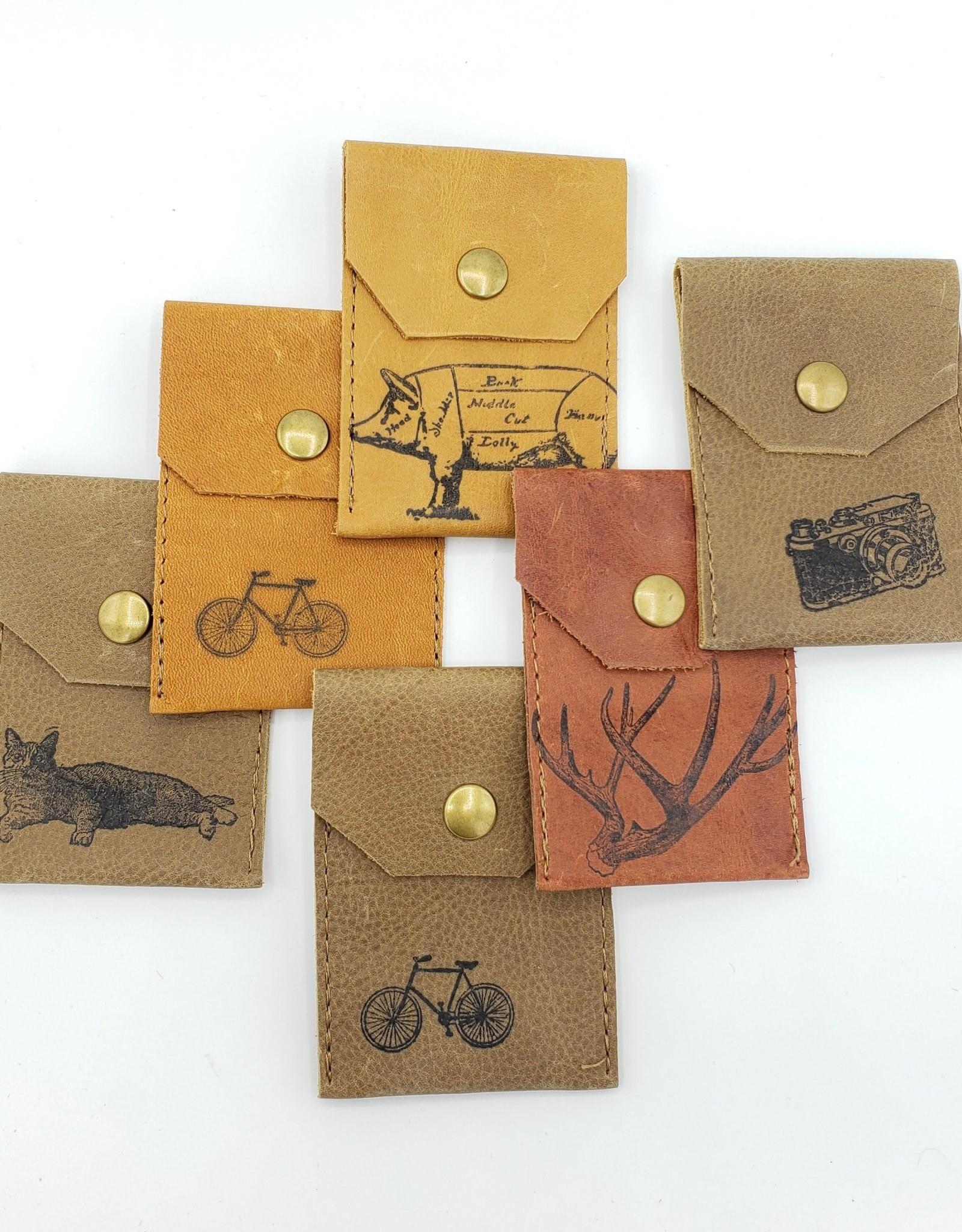 In Blue Handmade Antler - Leather Snap Card Wallet