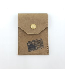 In Blue Handmade Camera - Leather Snap Card Wallet