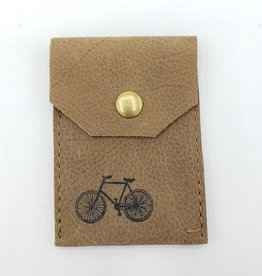 In Blue Handmade Bicycle - Leather Snap Card Wallet, Tan