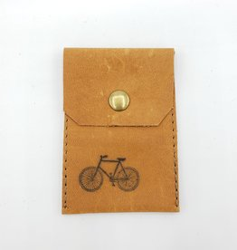 In Blue Handmade Bicycle - Leather Snap Card Wallet, Brown